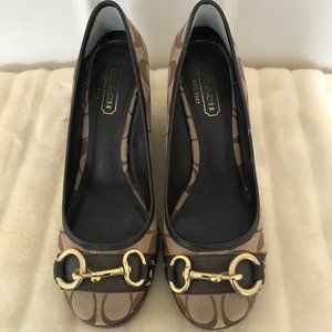 Coach, brown, size 8, slip-on wedge, LIKE NEW